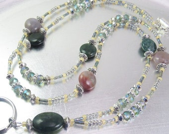Fancy Jasper and Green Aurora Borealis Crystal Glass Beaded ID Lanyard, Badge Holder, ID Necklace
