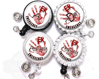 Emergency Nurse Blood Hand Print Retractable Badge Reel - Personalized Lanyard Id Holder with Name, Monogram, Occupation Title (A054)