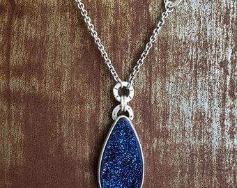 Drusy Drop Necklace - Blue