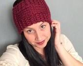 Knit Headband in Merlot Handknit Boho Headband Outerwear for Her Knit Outerwear Maroon Headband Handmade Headband Red Headband