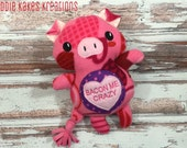 Custom Plush Valentine's Day Pink Pig / You're Bacon Me Crazy! / Ready to Ship