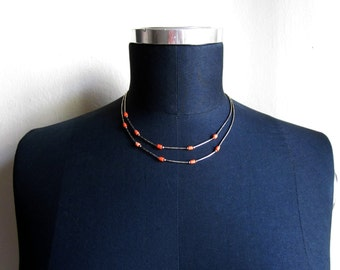 Liquid Sterling Silver and Coral double strand necklace