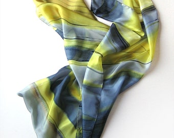Stripes scarf/ Hand painted silk scarf in yellow and gray/ Geometric scarf/ Habotai silk/ Unique handmade gift/ Birthday gift mom KM16/ OOAK