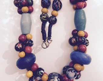 Huge India Signed Blown Glass Tribal Multi Color Necklace