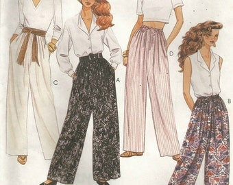 Vintage McCalls 6930 UNCUT Misses Wide Leg Pants with Drawstring or Elastric Waist Sewing Pattern Size 12-14 Waist 26.5-28
