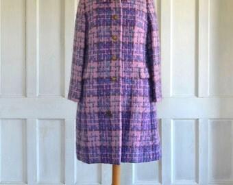 60s MOD Vera Maxwell Coat Vintage Wool Coat Purple Plaid
