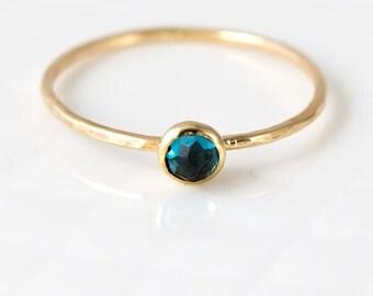 Rose Cut London Blue Topaz Stacking Ring in 14K Yellow Gold