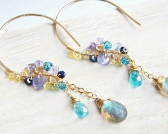 Multi Stones Chandelier Earrings, Labradorite Earrings, Blue Earrings, Multi Color Earrings