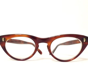 Gorgeous Glossy Cat Eye Glasses USA Faux Tortoise Vintage 50s 60s Amber Brown Eyeglasses Sunglasses SMALL on sale