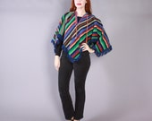 Vintage 60s PONCHO / 1960s MEXICAN Blanket Ethnic Woven Fringed Cotton Cape