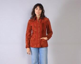Vintage 70s LEATHER JACKET / 1970s Rust Suede & Knit Patchwork Boho Jacket S