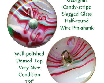 Button--Hard-to-find Georgian Medium Size Candy-stripe Slagged Glass Pin-shank