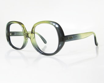 Vintage Christian Dior Eyeglasses Forest Green Emerald Moss Grass Womens Ladies Boho Bohemian Chic Glasses Optical Frames Clear 1970s