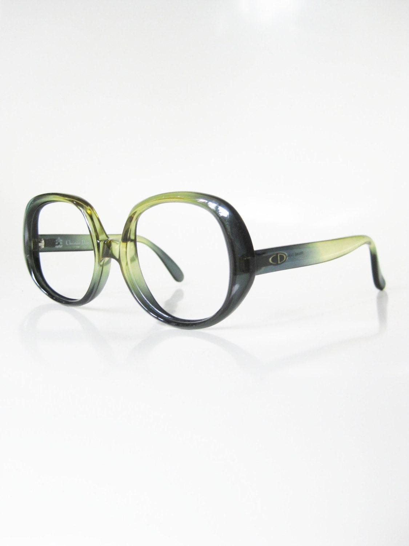 Emerald Green Eyeglass Frames : Vintage Christian Dior Eyeglasses Forest Green Emerald Moss
