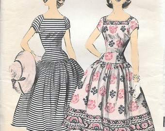 Advance 7851 1950s Drop Waist Dress with Square Neck and Border Print Vintage Sewing Pattern Size 14 Full Skirt