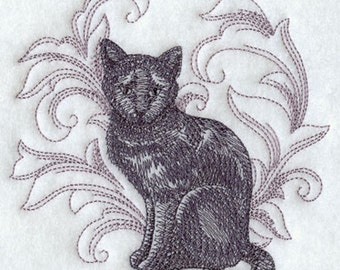 Cat with Baroque Background Embroidery Terry Hand Towel