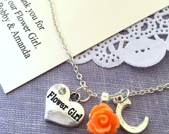 Initial, flower girl gift, necklace, child, personalized, comes with personalized card and JEWELRY box.