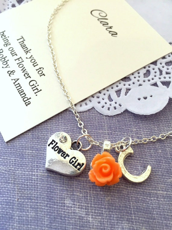 Initial flower girl gift necklace child personalized for Jewelry box with initials