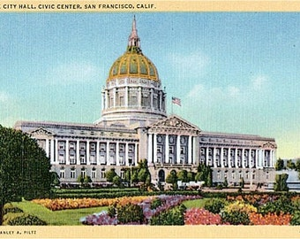 Vintage California Postcard - San Francisco City Hall (Unused)