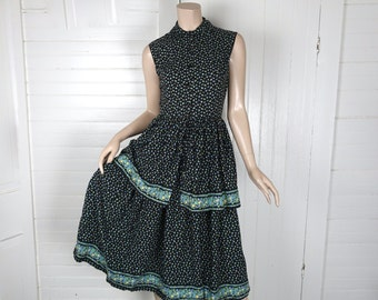 50s Picnic Dress in Black & Blue Floral- 1950s Cotton Peplum Dress- Sleeveless- Peter Pan Collar- Small