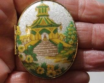 Large Gold Tone Locket, Guilloche Enamel Pagoda, Yellow Flowers, 1980s