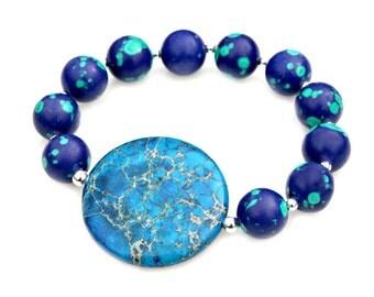 Ocean Blue Jasper Bracelet Azurite Malachite Blue Green Silver STATEMENT Chunky Beaded Bracelet High Fashion Cool Celebrity Style Mei Faith