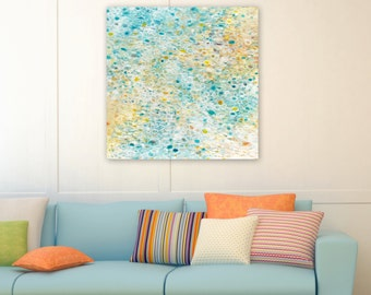 Original Abstract Painting, Beach Decor, Canvas Wall Art, Coastal Home, Sand Sea Colors turquoise - Tide Pool Reflections by Jessica Torrant