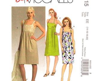 Summer Dress Pattern McCalls 5315 Empire Waist Dress Shoulder Straps Halter Dress Inverted Pleats Size 14 to 20 Womens Sewing Pattern UNCUT