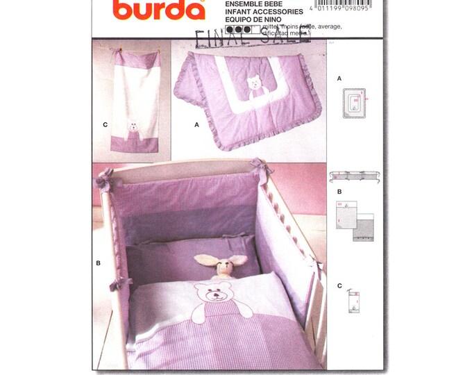 Baby Nursery Decor Pattern Burda 9809 Teddy Bear Quilt Blanket Bumper Pads Towel