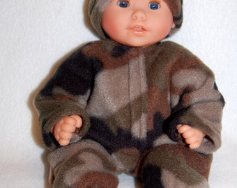 "Camouflage print Fleece Sleeper Bunting and Hat for 12"" Corolle Mon Premier Baby dolls tkct735"