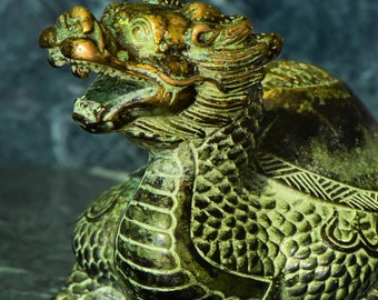 Vintage Bronze Turtle Dragon Gold Gilded Beast Figurine Statue