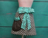 Towel Apron - Shower Hostess Apron - Brown and Teal Green Feather