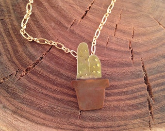 Cactus in a pot necklace