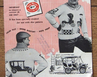 Vintage 50s Mary Maxim Knitting Graph Style pattern #433 ANTIQUE AUTOS men Cardigan sz 38-44