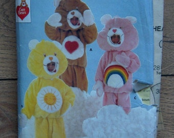 Vintage 1984 Butterick pattern 6814 CARE BEARS Costume sz 2-6X (s-m-l) children boy girl