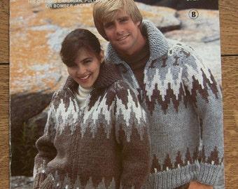 Vintage WHITE BUFFALO  knitting pattern 6727 Cowichan cardigan pullover bomber jacket men women sz 32-44