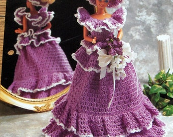 vintage 1995 crochet pattern Annie's fdcc Bridesmaid dress and hat fashion doll set fits Barbie toy child