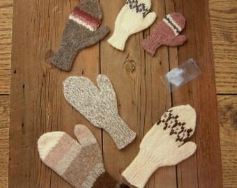 vintage 80s knitting pattern White Buffalo Elena  2541  MITTENS adults children