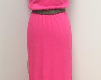1970's Hot Pink Sweater Maxi Dress - Beldoch Popper - 1970's Pink Maxi Dress - Sleeveless Knit Dress - 28-30 Bust