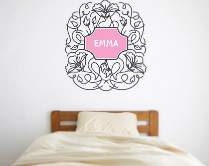 decorative flower vinyl wall decal, ornate floral wall sticker, childs name wall decal, FREE SHIPPING