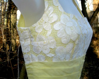 Miss Elliette dress, vintage Cotton 1960s yellow dress, 60s prom dress, soft cotton white lace dress