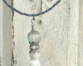 Frozen Charlotte Tiny China Doll on Cut Steel Antique Blue Beads