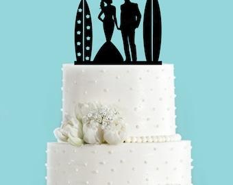 Surf Couple Bride and Groom Beach Wedding Acrylic Wedding Cake Topper