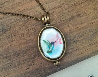 Oval Hummingbird Necklace Double Sided *Sealed* Locket Reversible Printed Original Artwork - Two Hummingbirds.