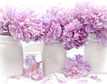 Peonies Flower Photography, Lavender Purple Peonies Mason Jars Print, Lavender Peonies Photos, Shabby Chic Peony Prints, Peonies Photography