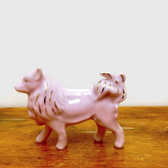 Bone China Dog Figurine - Pink & Gold Miniature Collie  - Collectible Animal - Germany