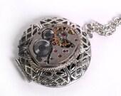 Steampunk Locket Vintage Watch Movement Necklace