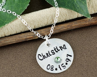 Personalized Name Necklace | Hand Stamped Date Necklace | Personalized Birthstone | Gift for Daughter | Gift for Friend | Mommy Necklace