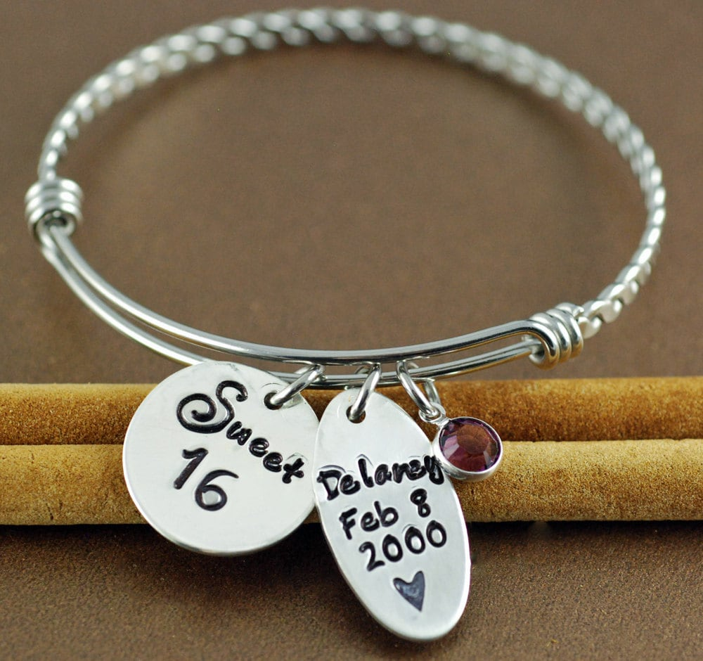 Personalized Bracelet Charms: Sweet 16 Bangle Bracelet Jewelry For Teen Personalized