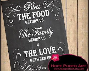 Bless This Food Prayer Chalkboard Digital Collage Sheet 8x10 Image Transfer Wall Art Printable UPrint 300jpg